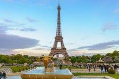 Parijs, Frankrijk - Mei 1, 2017: De torenmening van Eiffel van Trocadero binnen Stock Fotografie