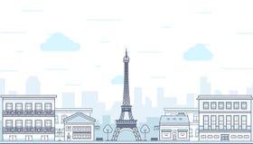 Parijs, Frankrijk met de toren van Eiffel Vector Stock Fotografie