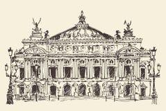 Parijs, Frankrijk, Palais Garnier (de operahuis van Parijs) wijnoogst graveerde illustratie Stock Fotografie