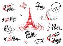 parijs frankrijk Reeks elementen voor ontwerp De torenschets van Eiffel Het inspirerende van letters voorzien Etiketmalplaatjes M royalty-vrije illustratie