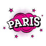 parijs Grappige Tekst in Pop Art Style Royalty-vrije Stock Afbeeldingen