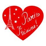 Parijs, hart, hand getrokken illustratie Stock Fotografie
