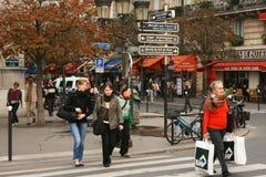 Parijs, het Notre-Dame de Paris van Straten neer Stock Foto's