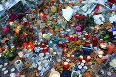 Parijs in het Rouwen Bataclan Moord Stock Foto