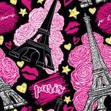 parijs Het uitstekende naadloze patroon met de Toren van Eiffel, de rozen, de kussen, de harten en de sterren met gouden schitter stock illustratie