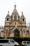 10 Parijs-JANUARI: Alexander Nevsky Cathedral tijdens de winter op 10,2013 Januari, Parijs Stock Foto's