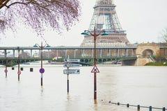 PARIJS - JANUARI 25: De vloed van Parijs met uiterst hoogwater op 25 Januari, 2018 in Parijs Stock Foto
