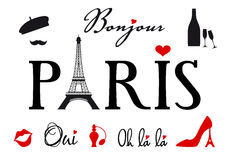 Parijs met de toren van Eiffel, vectorreeks Stock Afbeelding