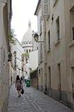 Parijs Montmartre Rue heilige Rus Stock Afbeelding