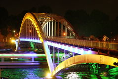 Parijs - nachtbrug Royalty-vrije Stock Foto