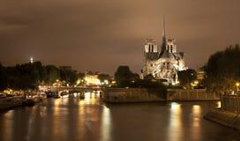 Parijs - Notre-Dame bij nacht Stock Fotografie