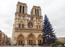parijs Notre Dame Kerstmis Stock Foto's