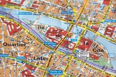 Parijs op de kaart Stock Foto