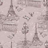 parijs Uitstekend naadloos patroon 4 royalty-vrije illustratie