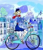 Parijs in waterverfstijl Stock Afbeelding