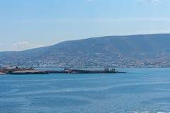 Parikia bay and harbor - Cyclades island - Aegean sea - Paroikia (Parikia) Paros - Greece. View of Parikia bay and harbor - Cyclades island - Aegean sea royalty free stock image