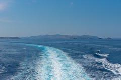 Parikia bay and harbor - Cyclades island - Aegean sea - Paroikia (Parikia) Paros - Greece. View of Parikia bay and harbor - Cyclades island - Aegean sea stock image