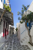 Parikia street in greek island of Paros Stock Photo