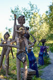 Parikkala Finlandia, Sierpień, - 21, 2015: Rzeźby artystą Veijo Ronkkonen w jego rzeźba parku Parikkalan Fotografia Royalty Free