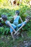 Parikkala Finlandia, Sierpień, - 21, 2015: Rzeźby artystą Veijo Ronkkonen w jego rzeźba parku Parikkalan Obrazy Royalty Free
