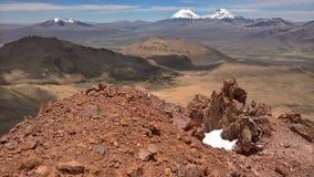 Parinacota and Pomerape - Sajama national park. Parinacota and Pomerape from Sajama view Royalty Free Stock Image