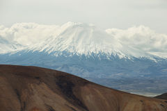 Parinacota and Pomerape viewed from. Cerro Milagro, Lauca national park, Chile Royalty Free Stock Photo