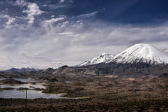 Parinacota and Pomerape volcanoes in Chile Royalty Free Stock Images