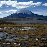 Parinacota stratovulcano. Vulcan Parinacota in the National Park Lauca in the northern part of Chile, Lago Chungara in foreground - analog photo scan Stock Images