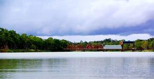 Paringa Brücke, stürmischer Himmel Stockbild