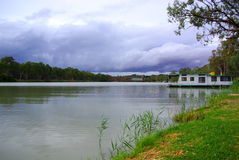 Paringa Bridge & Storm. Photograph featuring the River Murray including the historic Paringa Bridge, on a rare stormy day (South Australia royalty free stock photos