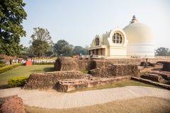 Parinirvana寺庙,拘尸那揭罗,印度 库存图片