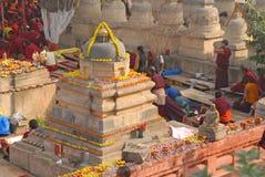 Parinirvana Stupa und Tempel, Kushinagar, Indien lizenzfreie stockbilder