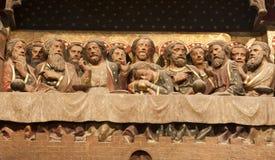 Paris - última ceia de Christ de Notre Dame fotografia de stock royalty free