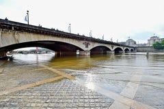 Paris überschwemmt mit die Seine-Niveau, das zum Normal fallen gelassen wird lizenzfreies stockbild