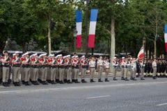 paris Франция 14-ое июля 2012 Ряды чужих legionaries во время времени парада на Champs-Elysees в Париже Стоковая Фотография
