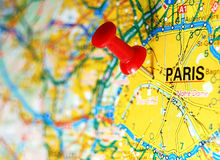 Paris. On map and red pin Royalty Free Stock Photography