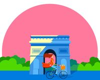 Vector illustration of a woman on a bicycle in front of the Arc de Triomphe. stock photography