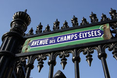 Paris. Street signs and indication in the city intra muros, Place Charles de Gaulle with the beginning of the avenue des champs elysees Stock Image