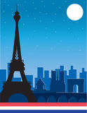 Paris. A silhouette of the Eiffel Tower with other famous Paris buildings in the background Stock Images