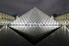 PARIS 2010: Louvre pyramid at night on October Royalty Free Stock Photo