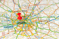Paris. Location of Paris on a map Royalty Free Stock Photography