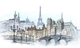 Paris. Architecture of Paris (Cbm painting Stock Photos