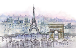 Paris. Architecture of Paris (Cbm painting Royalty Free Stock Images