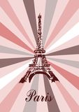 Paris. Illustration of Eiffel tower in Paris with pink background Stock Photos