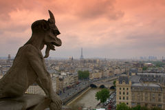 Paris. View of Paris from Notre-Dame at dusk Royalty Free Stock Photography