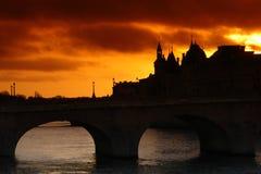 Paris. Shadows on cité island in paris Stock Images