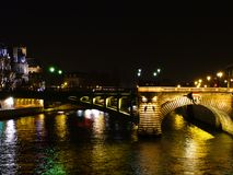 Paris. The Seine in Paris just after sunset Stock Photos