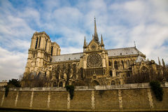 Paris. A side view on the main cathedral of Paris, the Notre Dame Royalty Free Stock Photos