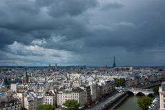 Paris from above. View on Paris from above. Eiffel tower on right, Montparnasse on the left in background Stock Images