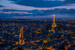 Paris aerial cityscape at sunset. Stunning view over the city of Paris Royalty Free Stock Image